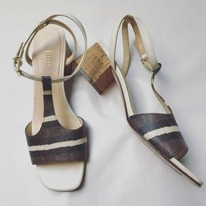 Luci Low Snake Embossed Leather Block Heel Sandals
